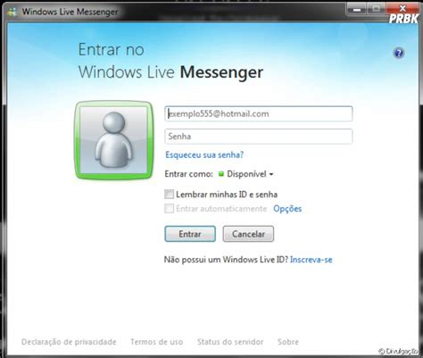 layout tela de login tela de login do windows live messenger