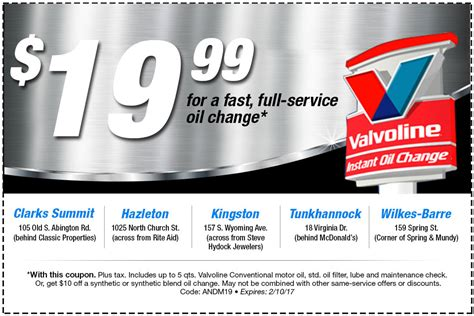 valvoline coupon  coupon