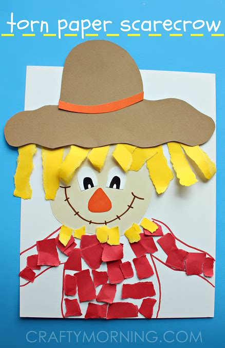 Paper Craft For Toddlers - torn paper scarecrow craft crafty morning