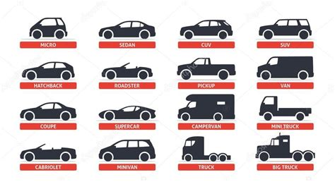 Car Vehicle Types by 자동차 종류 및 모델 개체 아이콘 세트 자동차 스톡 벡터 169 Denispotysiev 110137698