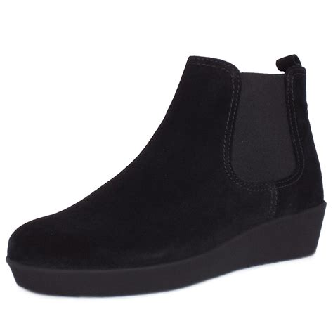 wedge black boots gabor ghost s low wedge ankle boots in black suede