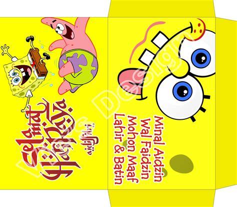 desain gambar spongebob nyonya hijau desain amplop lebaran lucu