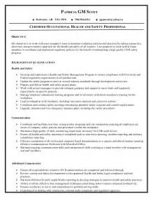 Occupational Health Sle Resume by Patrica Health Safety Resume