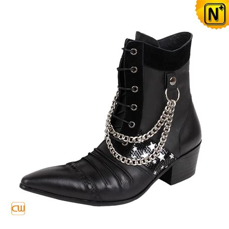 cool mens leather boots cool s shoes 2012 2013 s sliver hardware chain