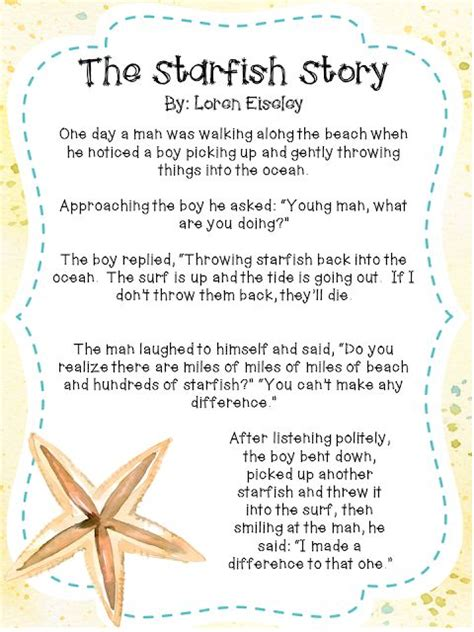themes of short story leaving 25 best ideas about starfish story on pinterest the