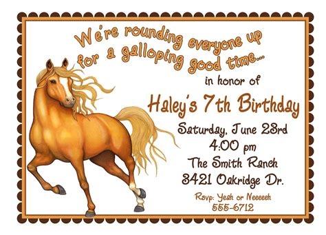 printable birthday invitations horse theme personalized birthday invitations horse western wild west
