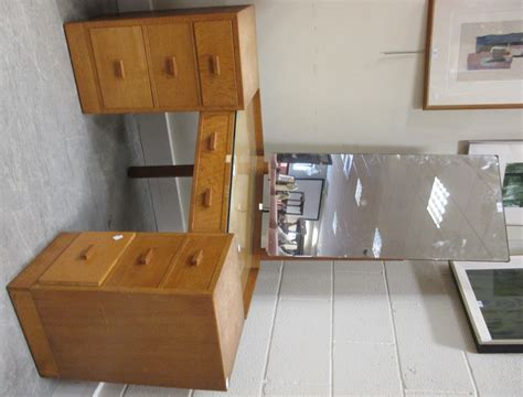 corner table with drawers a 1950s light oak corner dressing table topether with a
