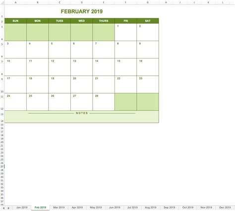 full year calendar  excel template excel