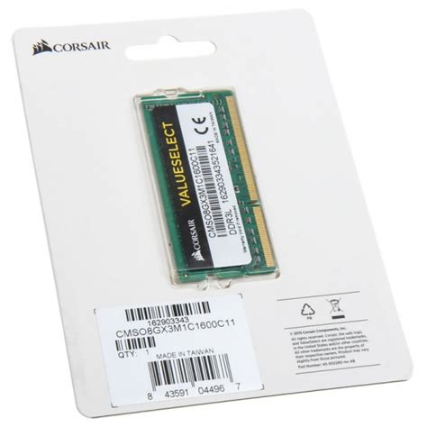 Sodimm Ddr3l Corsair 8gb corsair value select so dimm ddr3l 1600 cl11 8gb mecs 242 from wcuk