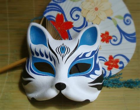 hand painted fox mask endulge japanese mask upper half