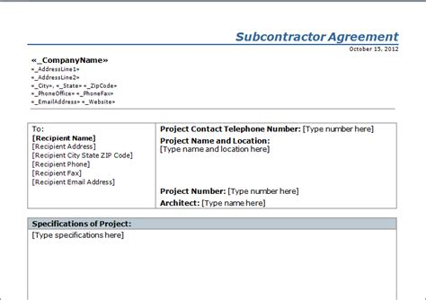 subcontractors contract template construction subcontractor agreement template free
