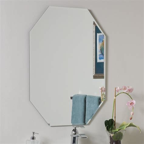 octagon bathroom mirror shop decor wonderland 23 6 in x 31 5 in octagonal frameless bathroom mirror at lowes com