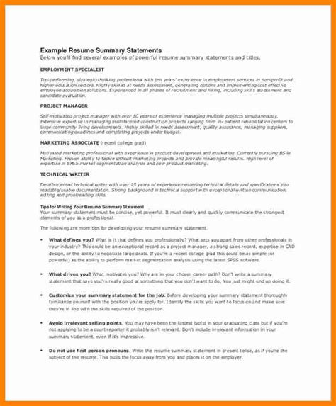 exles of summary statements for resumes 11 resume summary statement exles how to make a cv