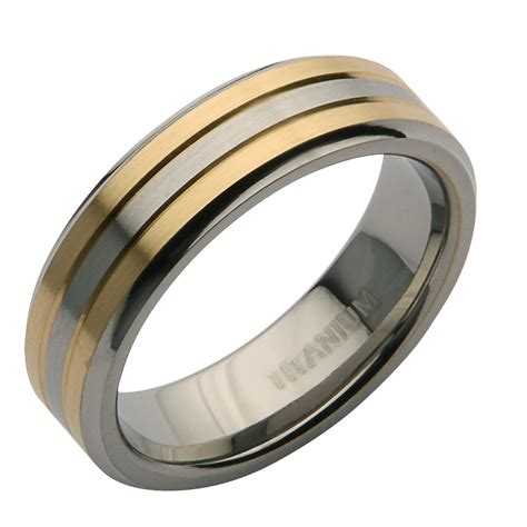 Wedding Ring Titanium by 6mm Titanium Two Tone Wedding Ring Band Titanium Rings
