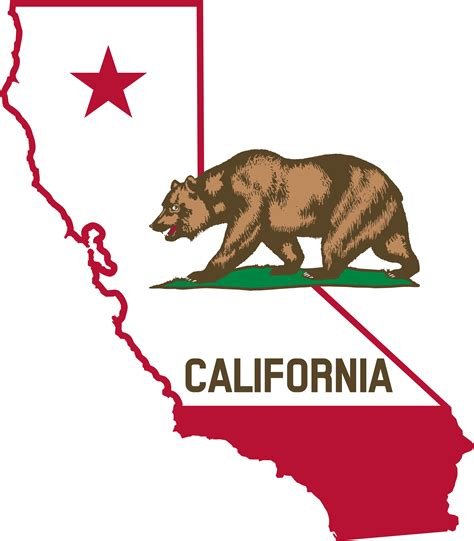 california map logo clipart california outline and flag
