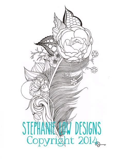 stephanie tattoo designs quot kendra quot feather https www etsy shop