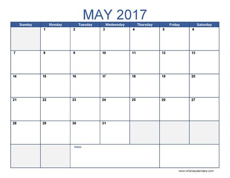 Blank Calender Template by Blank May 2017 Calendar Templates