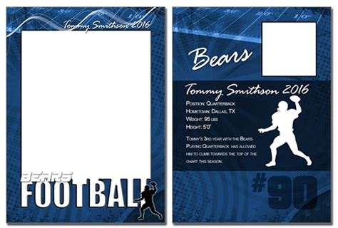 football card template football cutout trading card photoshop elements