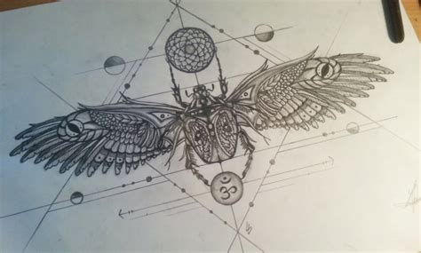 geometric insect tattoo luxury grey ink patterned bug with religious symbols and