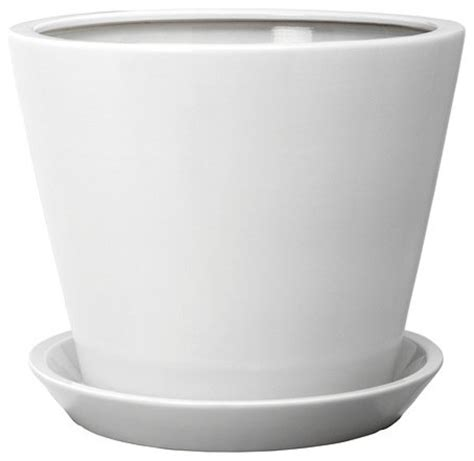 Indoor Planters With Saucers by Tross 246 Plant Pot With Saucer White Traditional Indoor