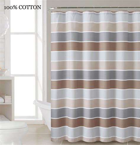 brown and white striped curtains brown horizontal stripe fabric shower curtain by