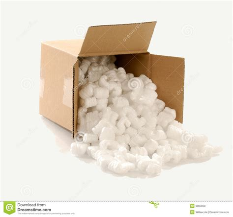 Styrofoam Package Of Fragile Pecah Belah box filled with packing chips stock photo image 9803058