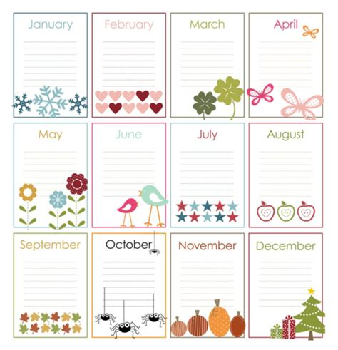 monthly birthday calendar template perpetual calendar on