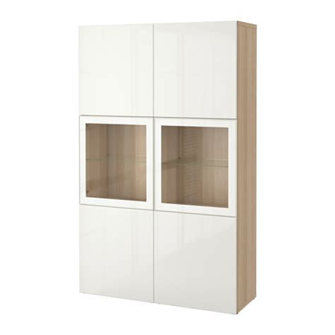 Besta Display Cabinet by Best 197 Storage Combination W Glass Doors White Stained