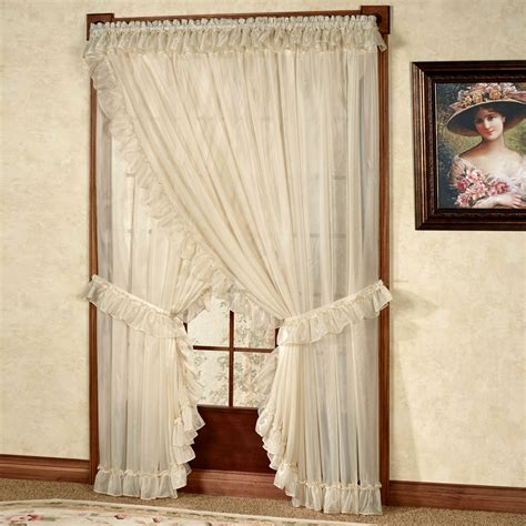 ruffle bedroom curtains ruffled curtains double ruffle drop cloth panels article