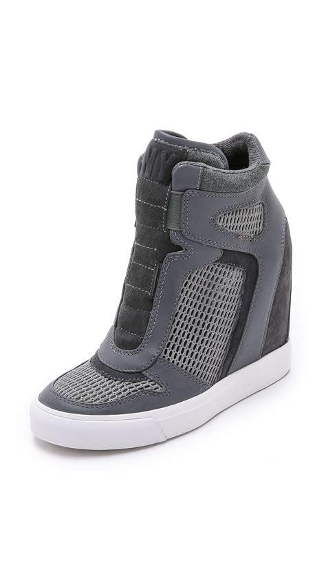 grey sneaker wedges lyst dkny grand wedge sneakers grey charcoal in gray