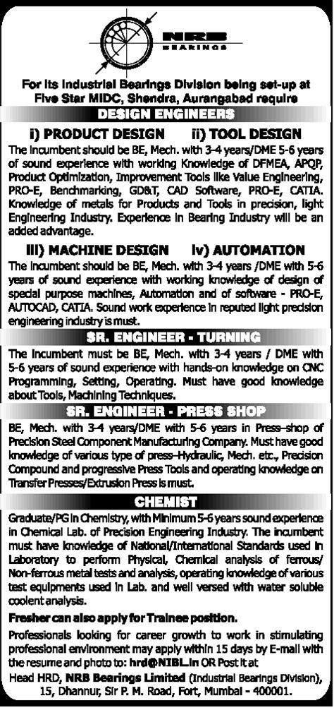 design engineer jobs aurangabad jobs in nrb bearings limited vacancies in nrb bearings
