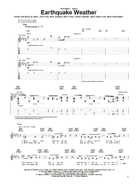 earthquake the used lyrics earthquake weather by beck guitar tab guitar instructor
