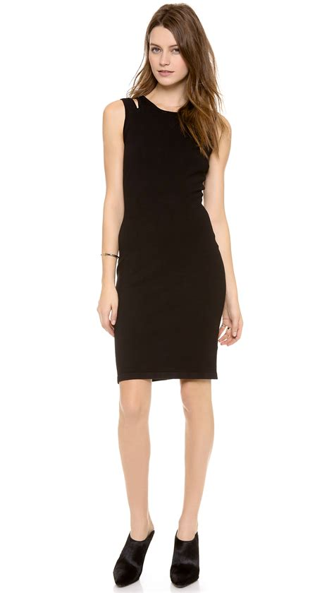 knit tank dress jonathan simkhai slit knit tank dress in black lyst