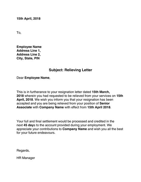 professional relieving letters templates