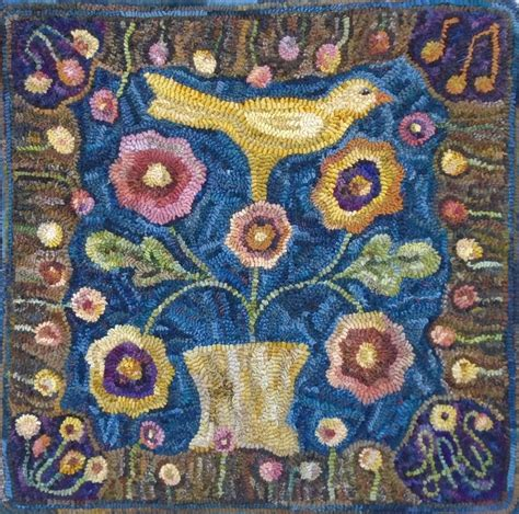 free rug hooking patterns song of the yellow bird by pattern only or complete rug hooking kit