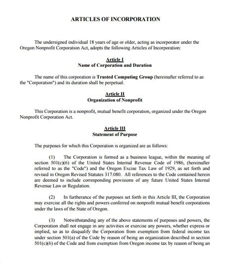 articles of incorporation template 7 download documents
