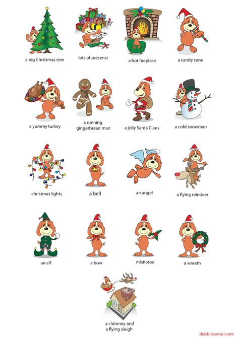 printable christmas flash cards debbie sensei free esl christmas flashcards