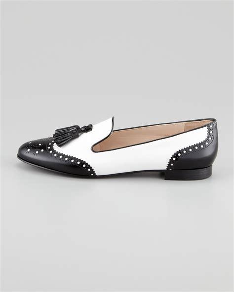 white prada loafers prada spazzolato wingtip tassel loafer in white lyst