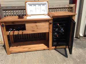 Outdoor Bar Cabinet Doors Rustic Wooden Cooler Table Bar Cart Wine Bar With Mini Fridge Console Table Storage Bar