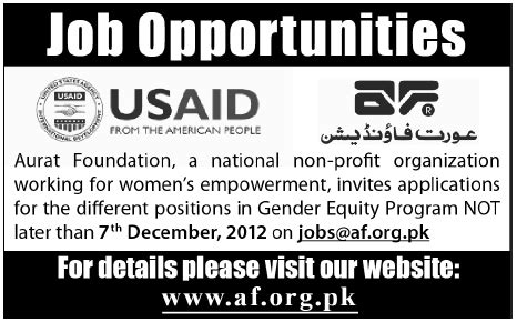 Gep Mba Internship by Aurat Foundation Usaid 2012 November Gender