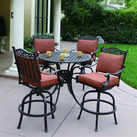 Patio Furniture Bar Height Set Shop Darlee 5 Charleston Cushioned Cast Aluminum Patio Bar Height Set At Lowes