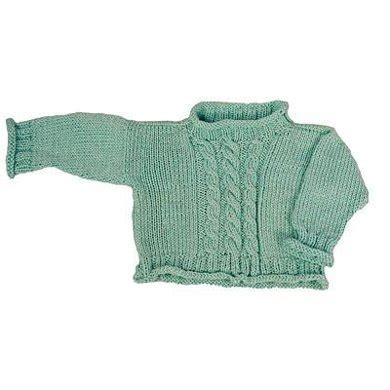 knit sweater pattern straight needles easy cabled baby pullover straight needle version