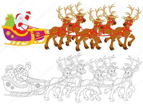 imagenes de santa claus y sus renos unidades en su trineo tirado por renos de santa claus con