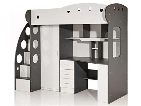 lit mezzanine 90x190 cm coloris blanc gris vente