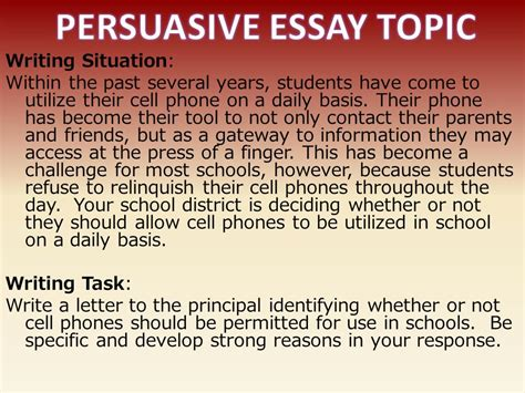Persuasive Essay On Cell Phone Use In School by The Persuasive Essay Ppt
