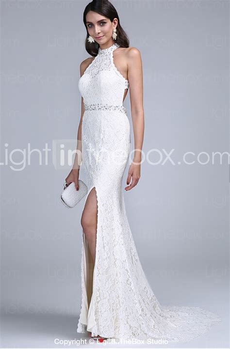 Dress Lace 17803 mermaid strapless tight fitting lace wedding dress with