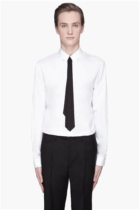 kris assche white black tie poplin shirt in white for