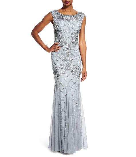 beaded gowns for of the papell sleeveless fully beaded gown dillards