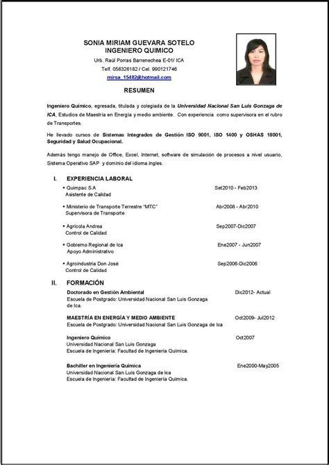 Modelo De Curriculum Para Trabajo Peru Modelo De Curriculum Vitae Ingeniero Modelo De Curriculum Vitae
