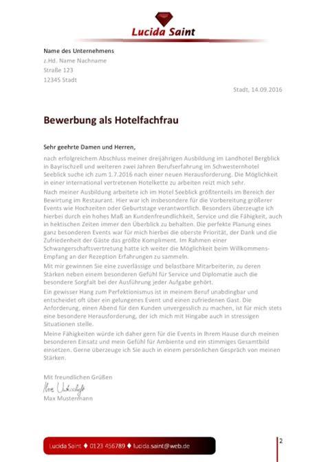 Initiativbewerbung Anschreiben Hotelfachfrau Layout F 252 R Die Bewerbung Als Hotelfachfrau Jobguru